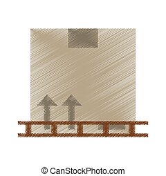 drawing boxes staked wooden design vector illustration eps...