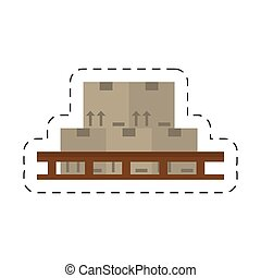 cartoon boxes staked design vector illustration eps 10