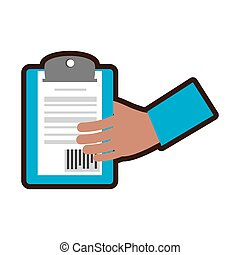 hand holding delivery clipboard code bar vector illustration...