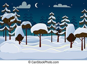 Forest. Evening. Different Trees Covered with Snow - Forest...