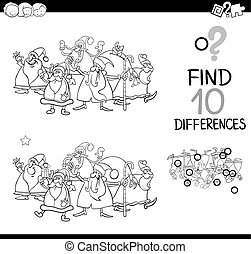 christmas differences for coloring - Black and White Cartoon...