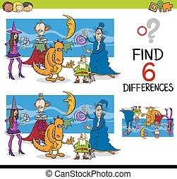 finding differences game - Cartoon Illustration of Finding...