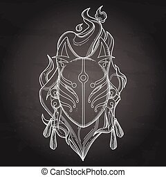 Graphic demon fox mask drawn in line art style with fire...