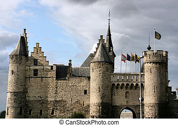 Medieval castle - Castle Het Steen in Antwerp, Belgium Old...