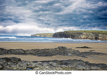 storm clouds with soft cliff waves