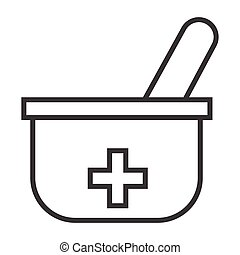 mortal and pastle - simple thin line mortal and pastle icon...