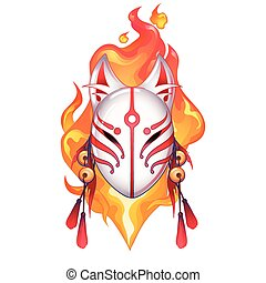 Graphic deamon fox mask drawn in red and white colors with...