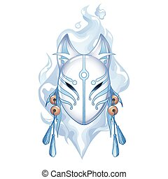 Graphic deamon fox mask drawn in pastel blue and white...