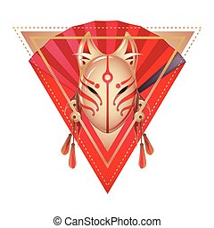 Japanese deamon fox mask - Graphic deamon fox mask with...