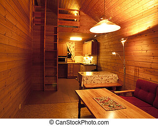 Mountain cabin interior - Typical mountain cabin in the...