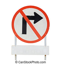 Traffic sign do not turn right with clipping path