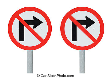 Double do not turn right Traffic sign with clipping path