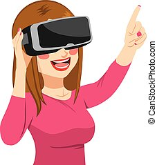 Woman Enjoying Virtual Reality Headset - Happy young woman...