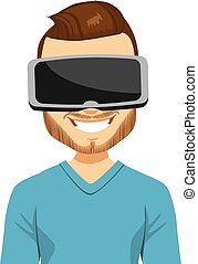 Man Virtual Reality Headset - Man wearing virtual reality...