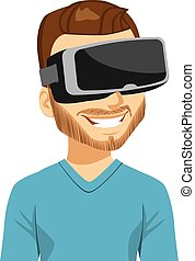 Enjoying Virtual Reality - Man enjoying virtual reality...