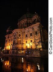 美しい, 建物, ベルリン, 夜
