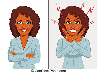 Comparison between angry and happy expressions of the same african american businesswoman