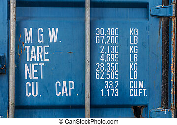Container weights and dimensions informations - Rusty blue...