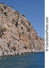Kalymnos island - entrance of Kalymnos island with tyres...