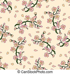 Seamless pattern with branch of cherry blossoms.