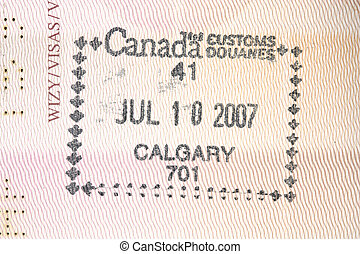 Canada - Passport stamp from Calgary, Canada in a Polish...