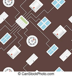 Security seamless pattern 5.2 45 degrees. Security sensor...