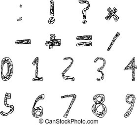 Hand Drawn Child Numbers and Basic Math Signs Filled Bold