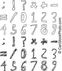 Hand Drawn Child Numbers and Basic Math Signs Filled Contour