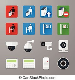 Security icons set 3 - Video surveillance various camera and...
