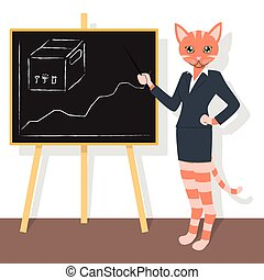 Orange cat pointing to the chart