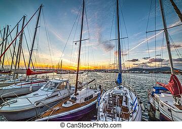 Boats in Alghero harbor