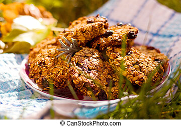 cookies - Homemade biscuits from oat flakes