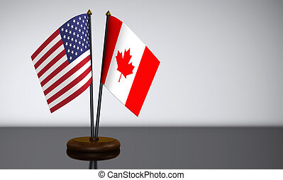 US Flag And Canadian Desk Flags - US flag and Canadian desk...