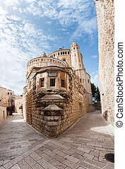 Dormition Abbey church. Old town. Jerusalem. Israel -...