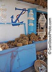 Greek shop - typical souvenir shop with sponges and...