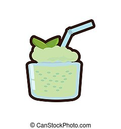 cartoon smoothie mint fresh drink