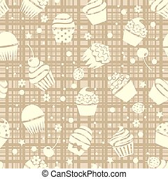 vector cupcake seamless pattern with cupcakes