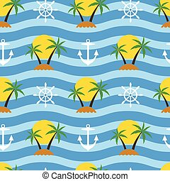 vector stylized seamless travel background with tropical palm trees