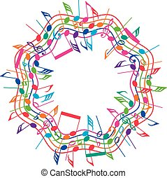 vector round colorful background of music notes on wavy...