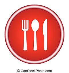 Icon fork, spoon, knife on a red background. Vector illustration.
