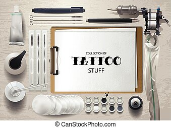 Tattoo mock up - Realistic mock up with tattoo stuff. All...