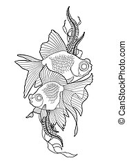 Graphic telescope fish - Graphic couple of telescope fish...