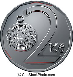 vector Money two czech crones coin reverse - Silver money,...