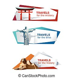 Set banners on the theme of travel - Set of vector banners...