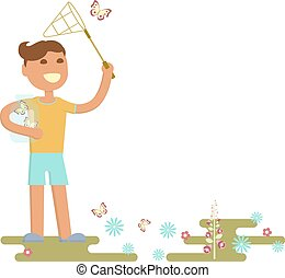 boy is catching butterflies