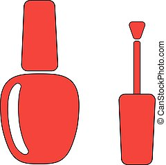 Nail Polish Red Flat illustration icon EPS10