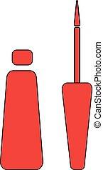 Make Up Brush. Red, Flat Icon illustration EPS10