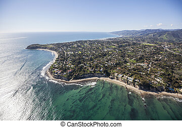 Malibu California Aerial - Aerial view towards Point Dume in...