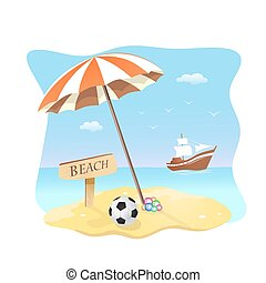 beach scene vector illustration