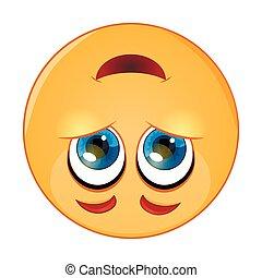 Cute upside down face emoticon, emoji - vector illustration
